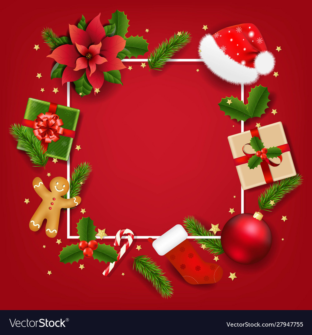 Christmas banner with red poinsettia