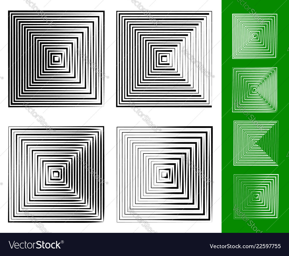 Concentric squares geometric element set of 4