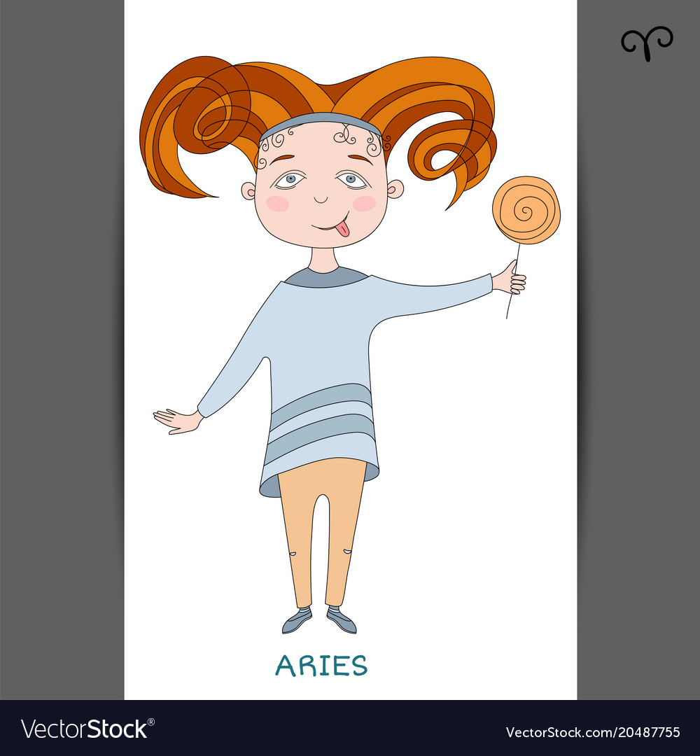 Cute girl in the form of zodiac sign aries