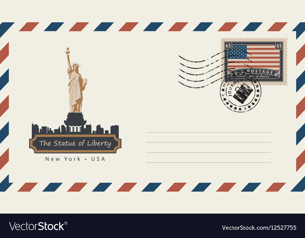 Envelope with postage stamp with statue liberty