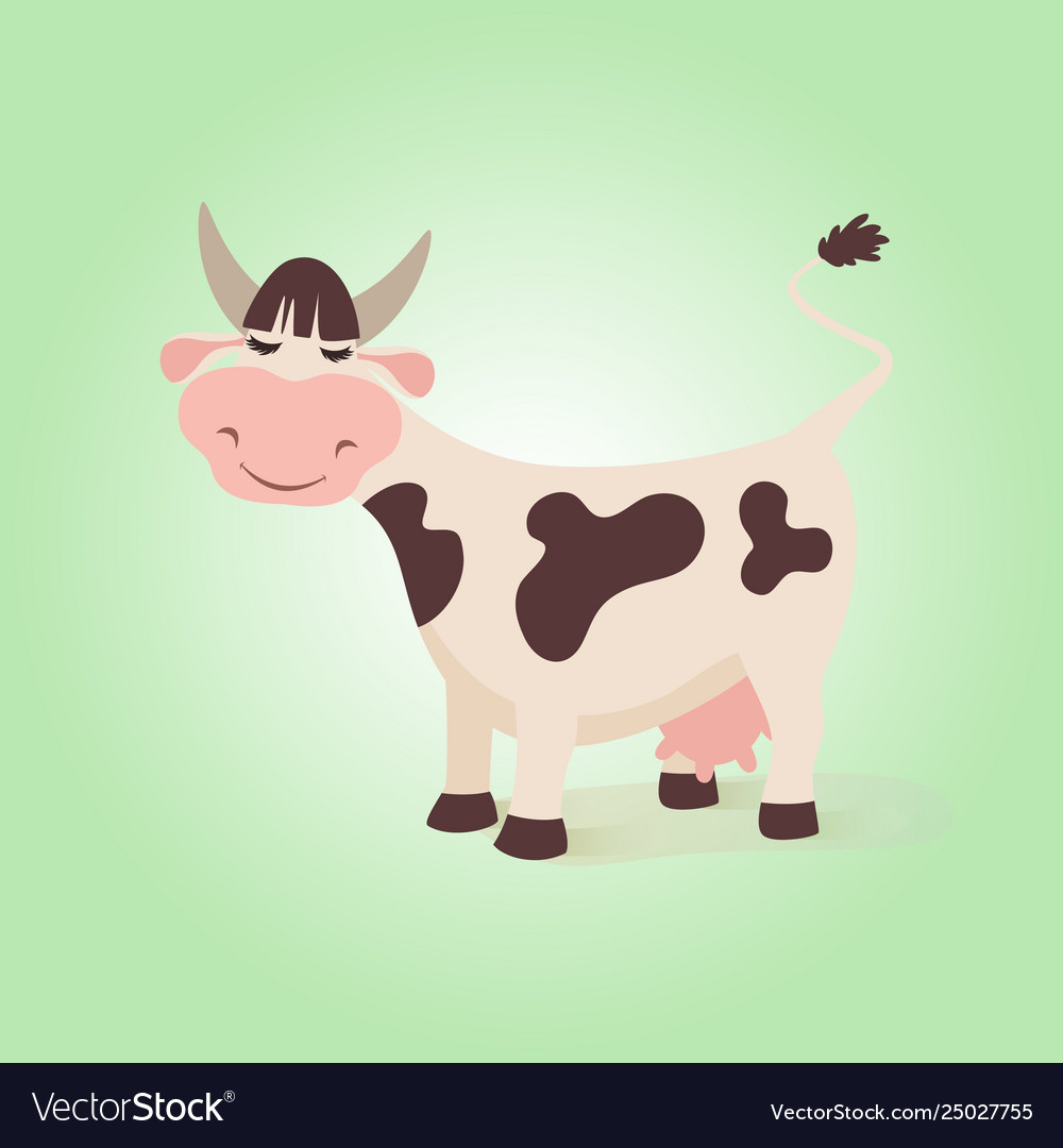 Happy funny cow creative farm cute