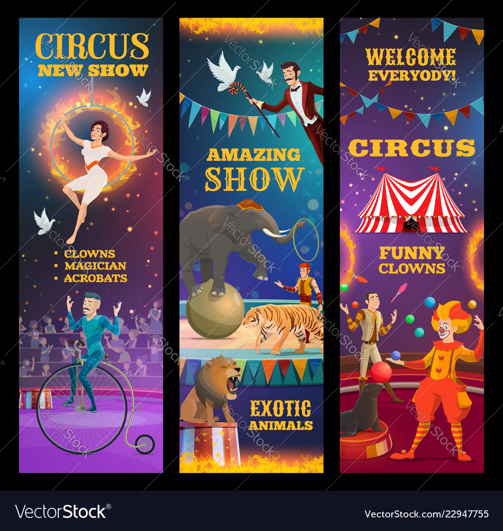 Magician animals clown and acrobats in circus