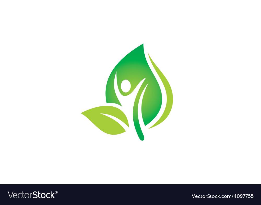 Man people leaf spa ecology nature logo vector image