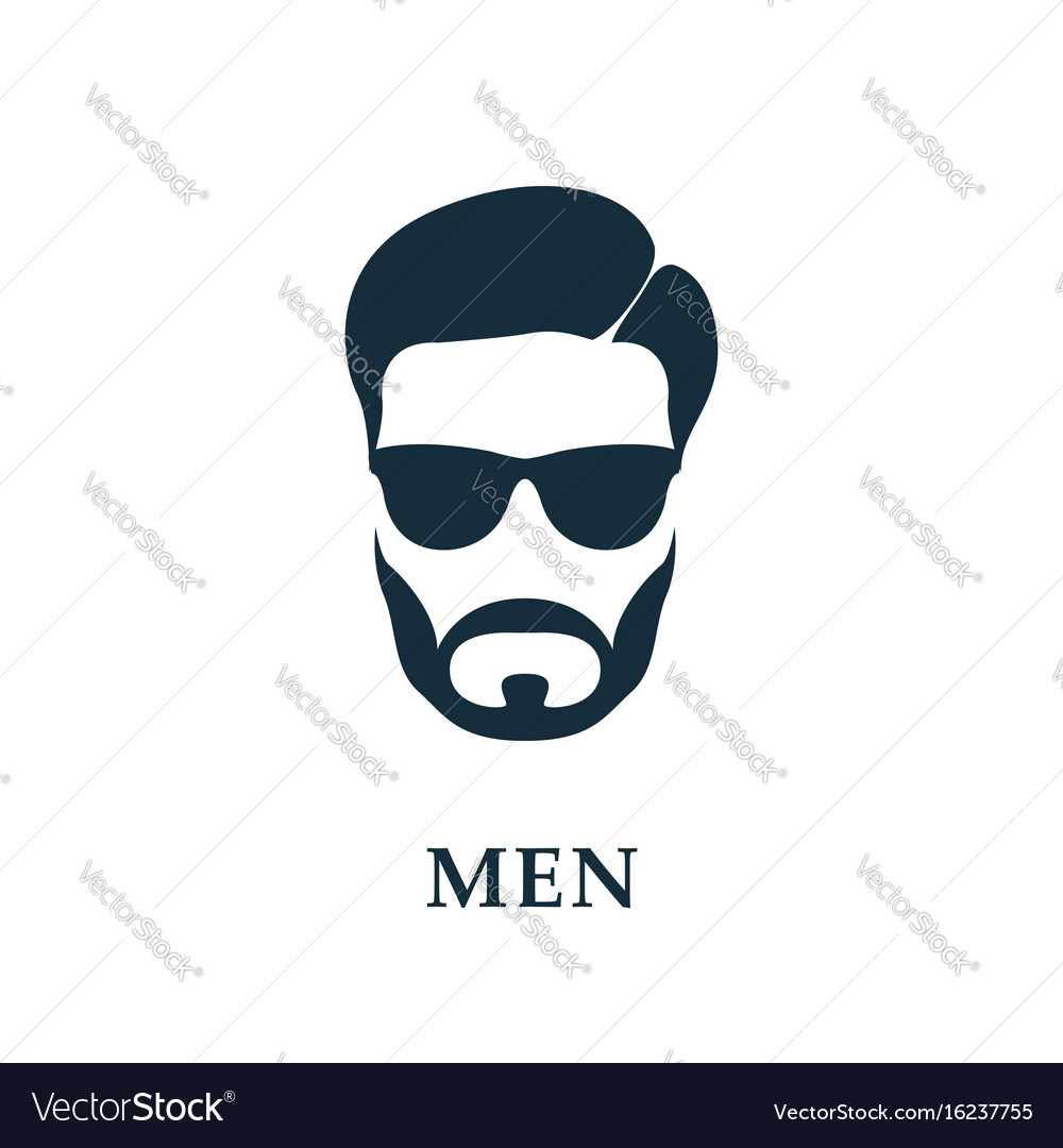 Men in sunglasses style haircut and beard icon