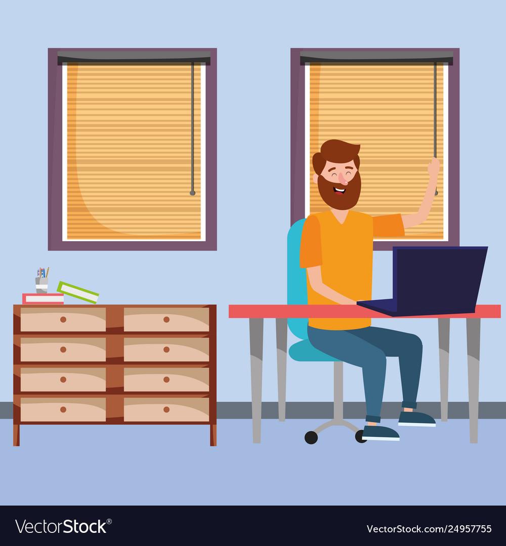 Online Education Man Cartoon Royalty Free Vector Image