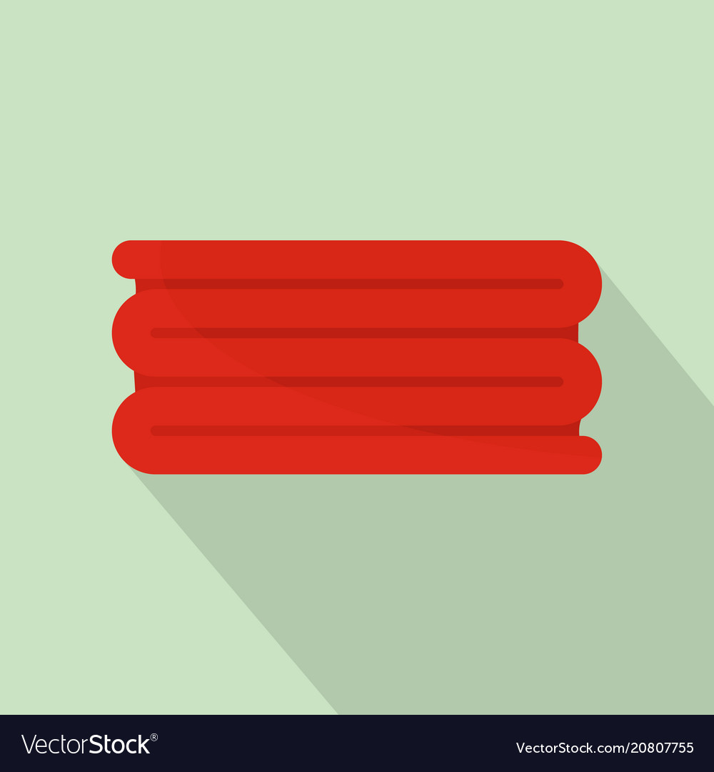 Red big towel icon flat style