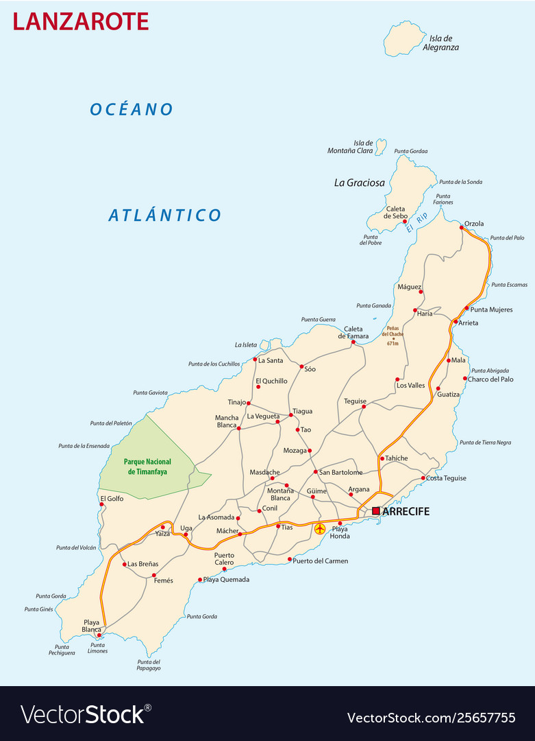Road map canary island lanzarote