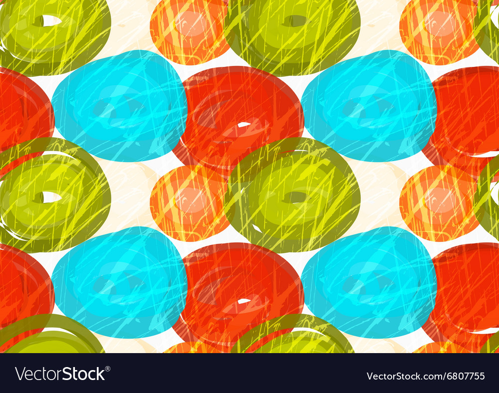 Rough brush green red blue circles vector image