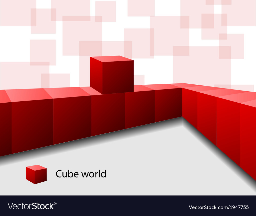 Text frame with red cubes vector image