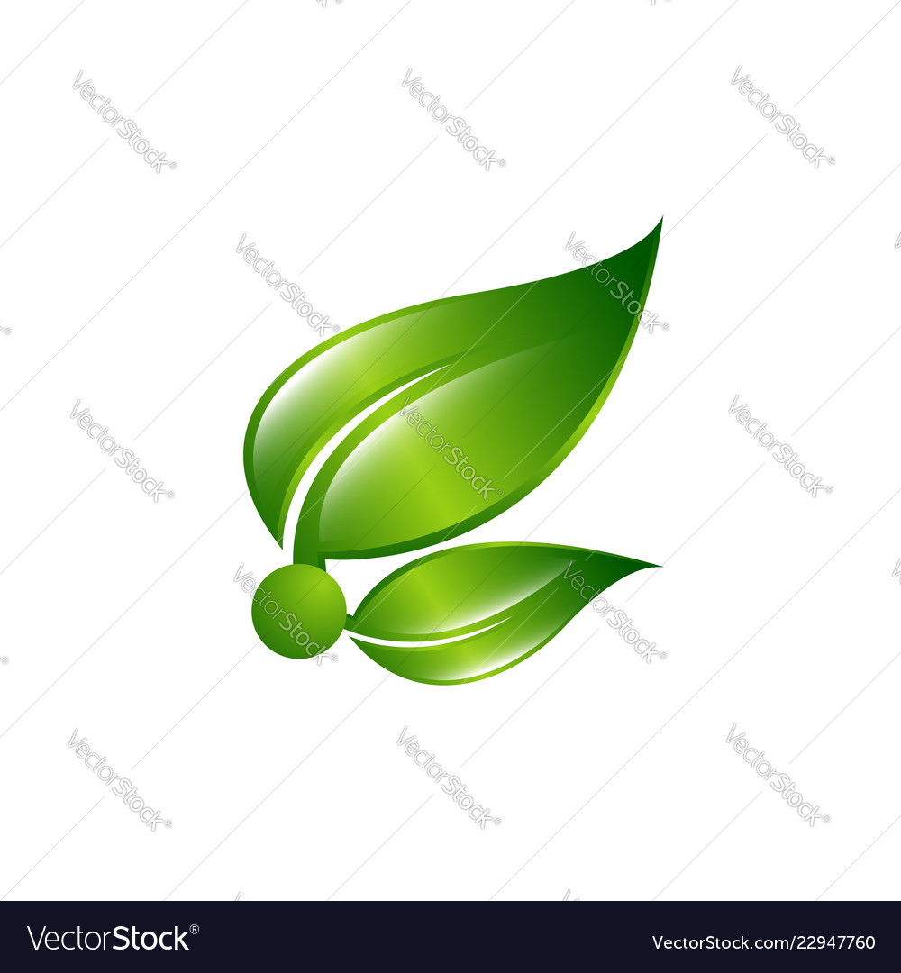 Abstract sphere green leaf logo set of green