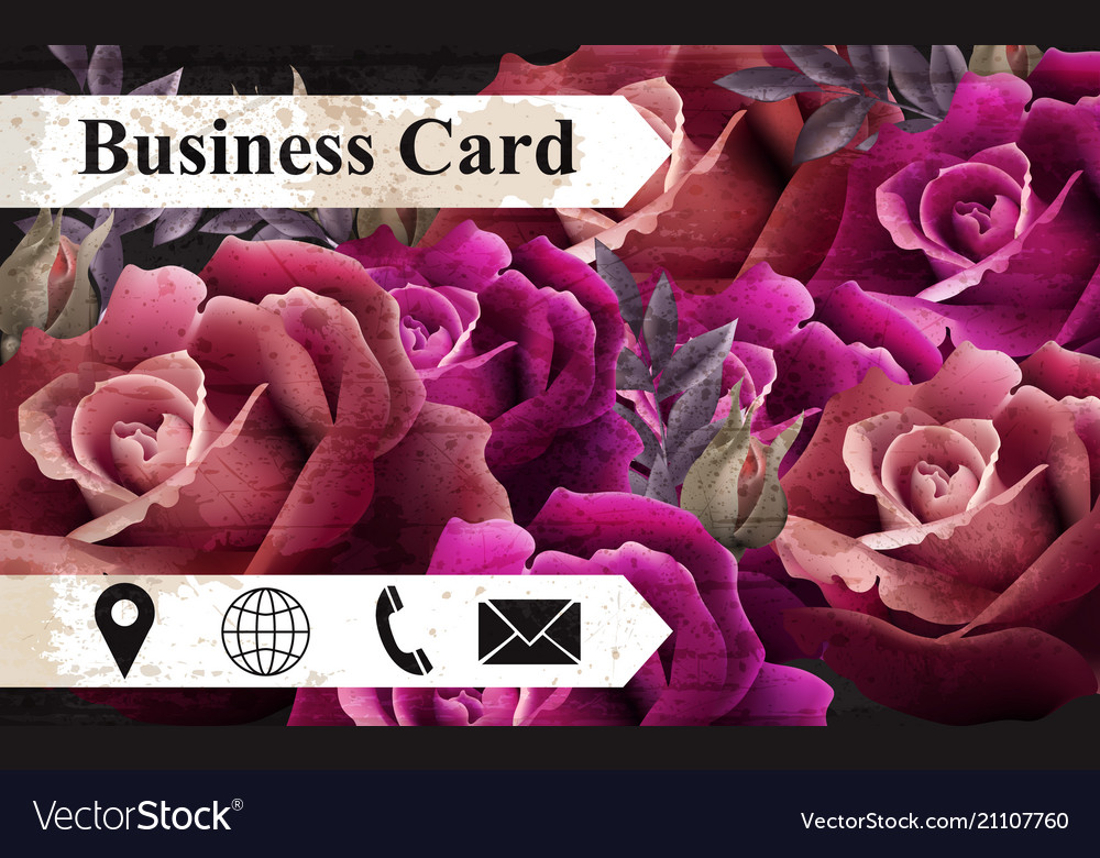 Business card with colorful realistic roses