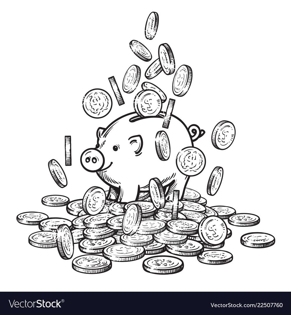 Cartoon piggy bank among falling coins on big pile