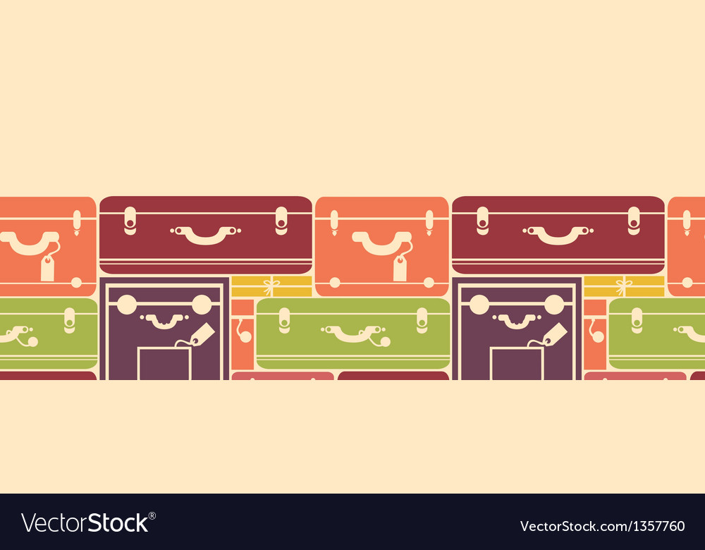 Colorful luggage horizontal seamless pattern