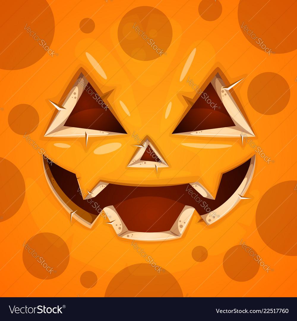 Funny cute crazy pumpkin character halloween