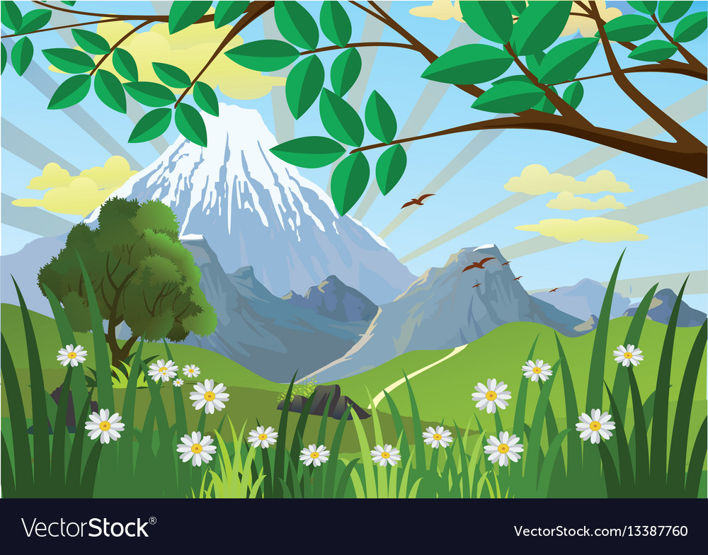 Landscape Mountains Trees And Flowers In The Vector Image