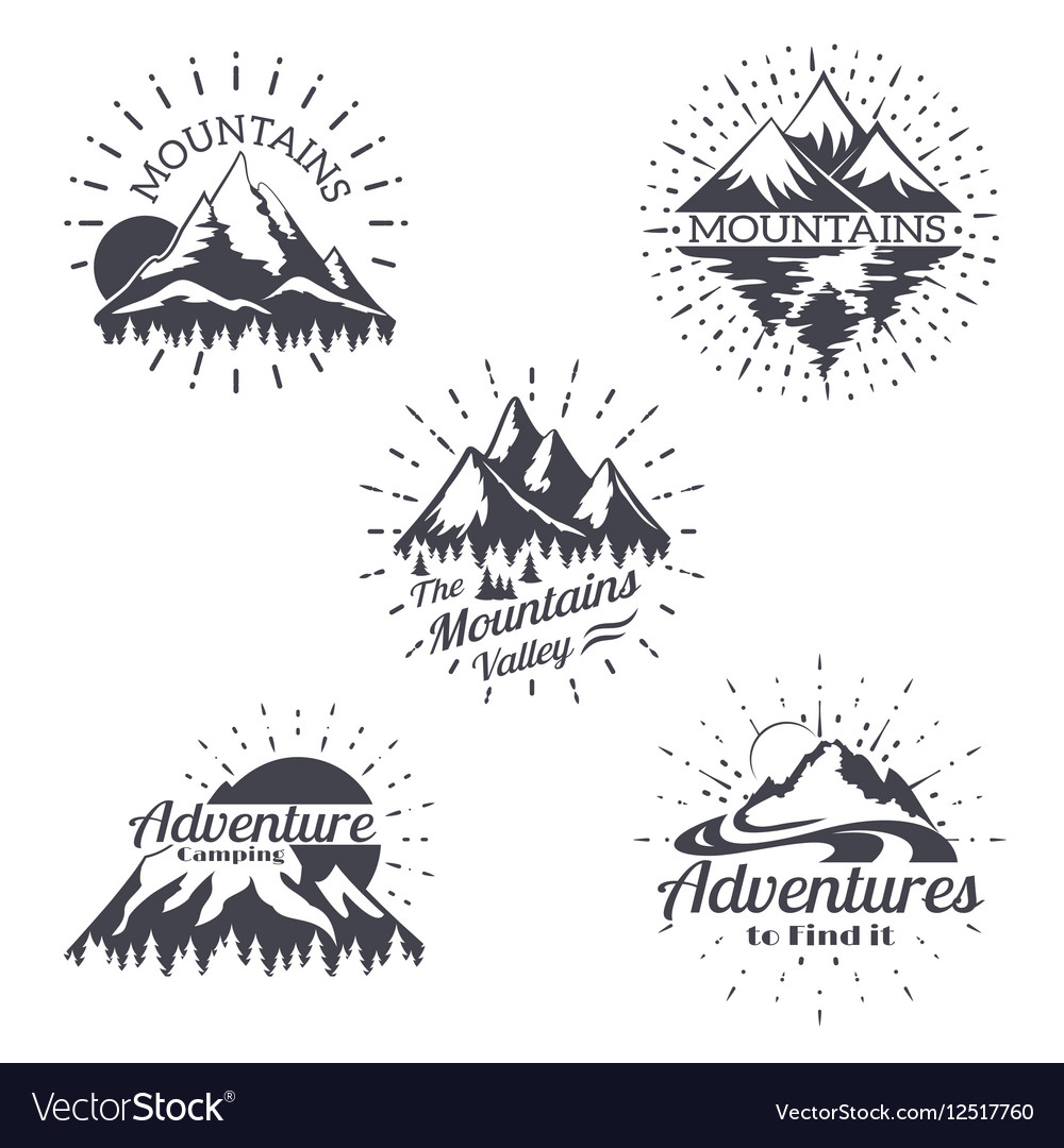 Mountain sketch logo set in retro style