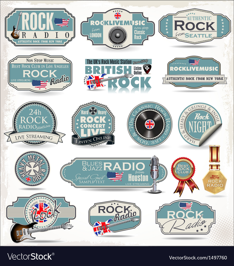 Rock music labels vector image
