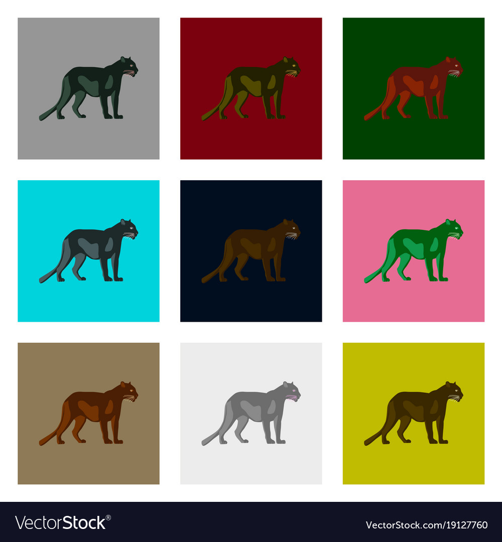 Set of in flat style panthers
