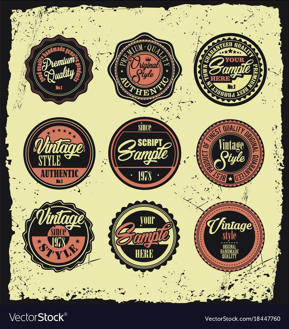 Set of retro vintage labels with grunge background
