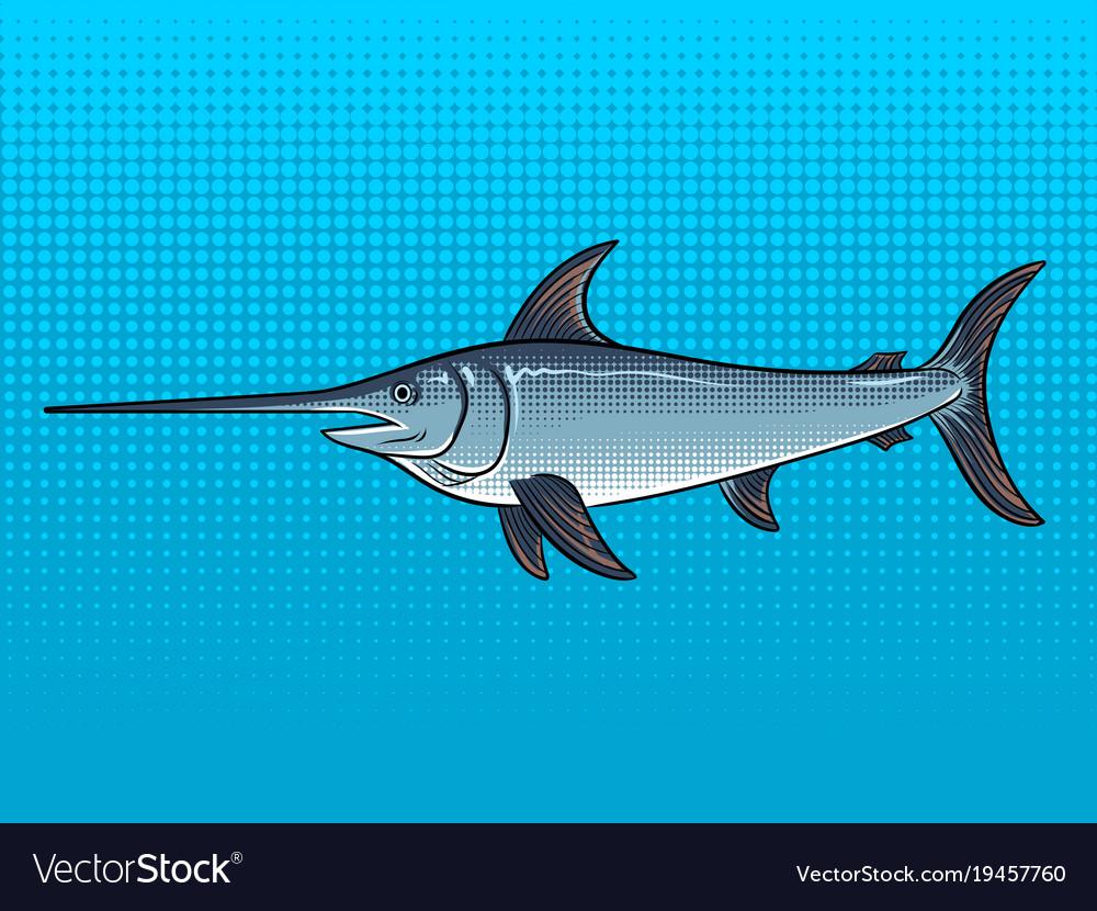 Swordfish pop art vector image