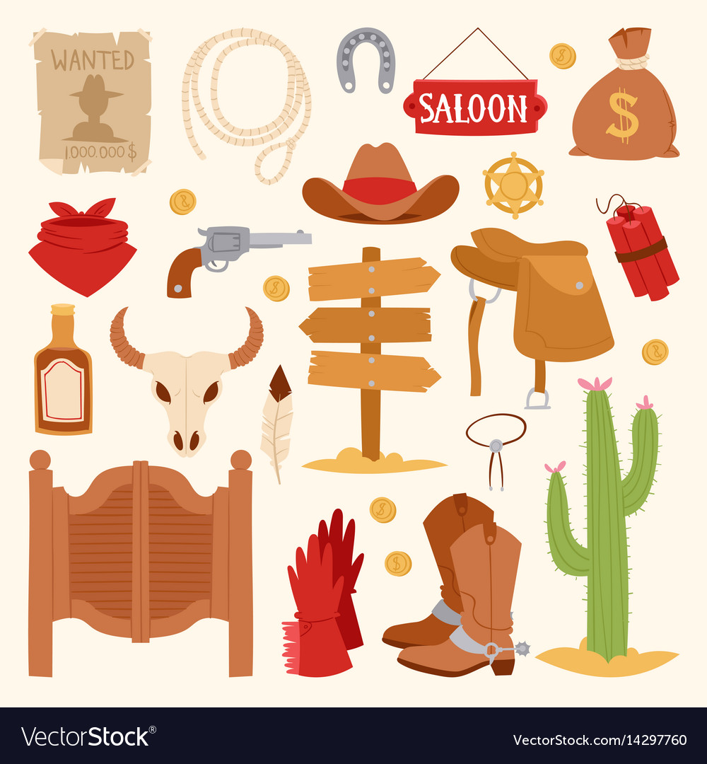 Wild west cartoon icons set cowboy rodeo equipment