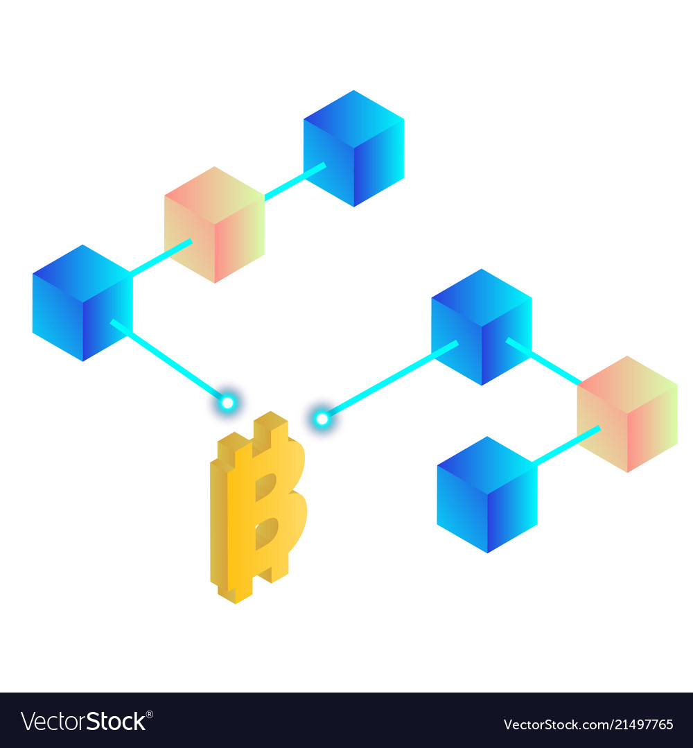 Blockchain concept bitcoin isometric blockchain ba