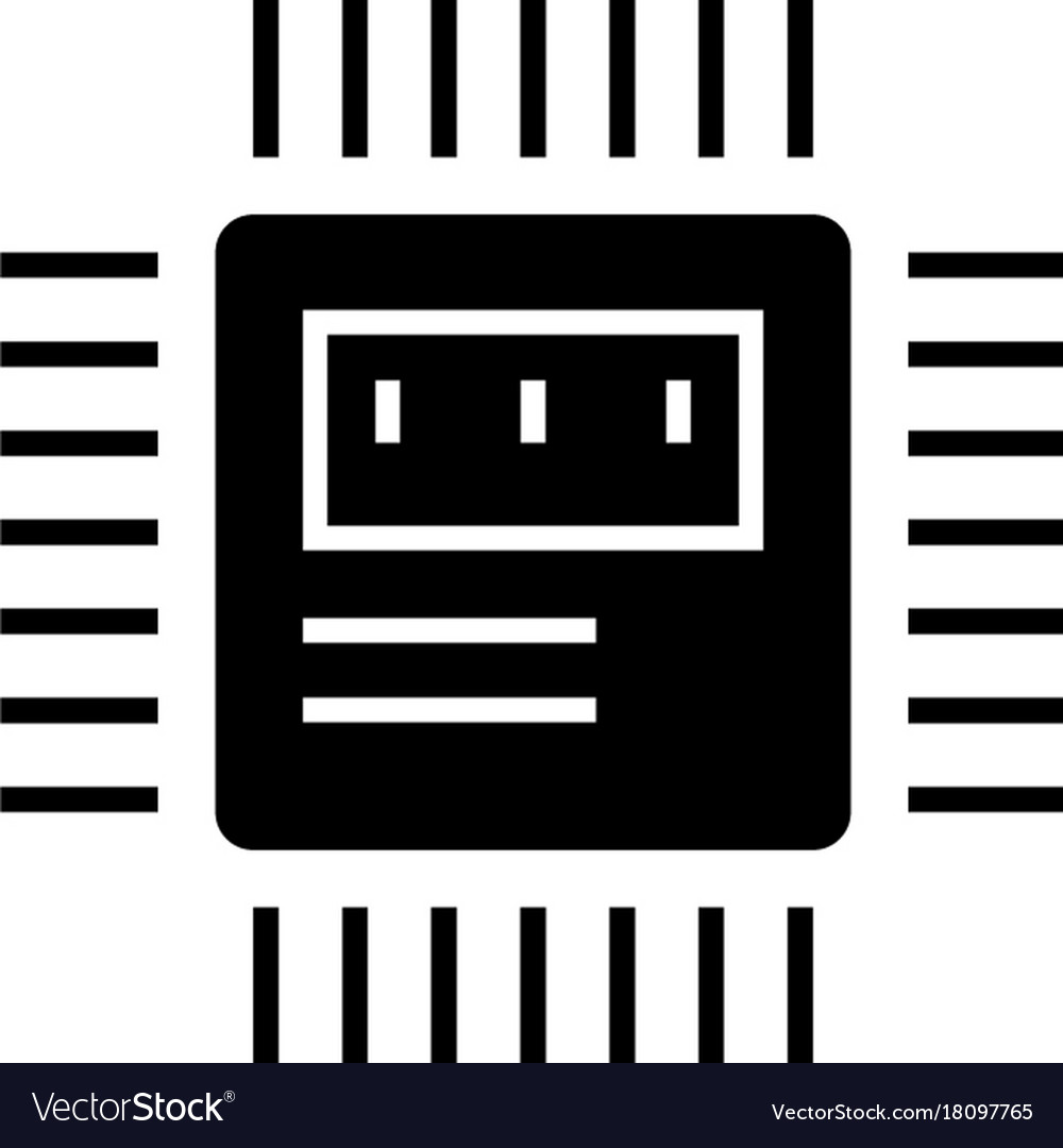 Cpu icon black sign on vector image