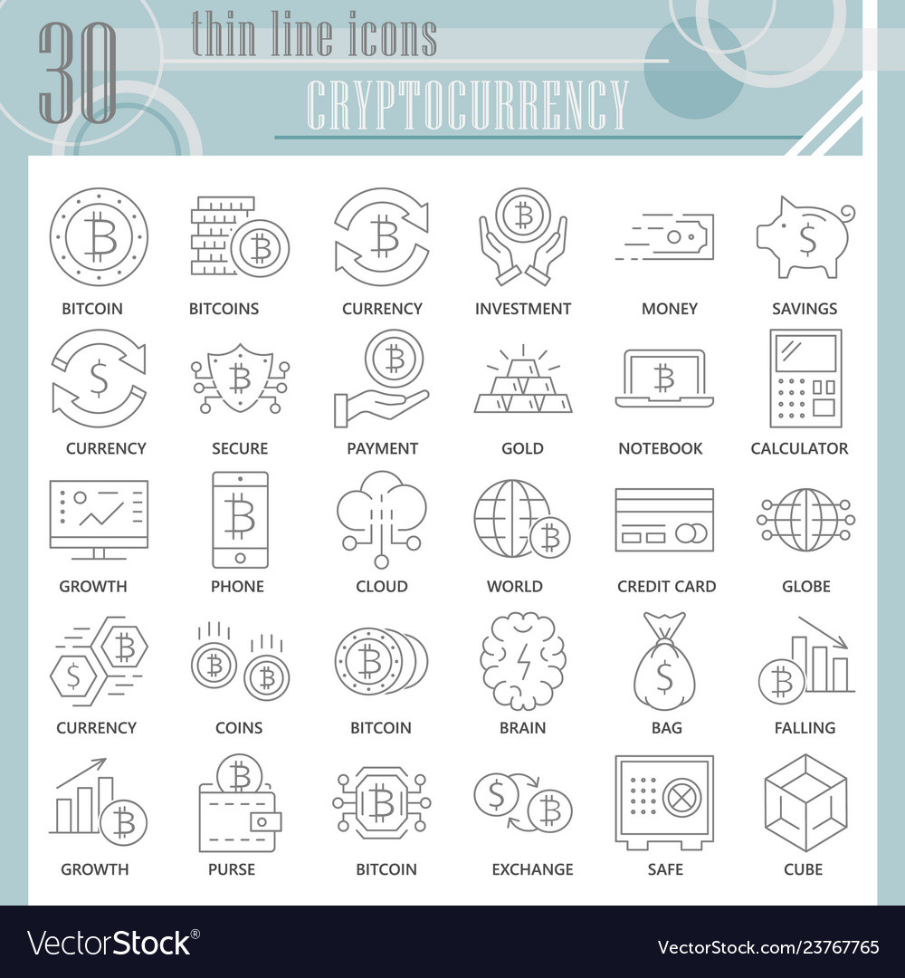 Cryptoccurency thin line icon set bitcoin symbols