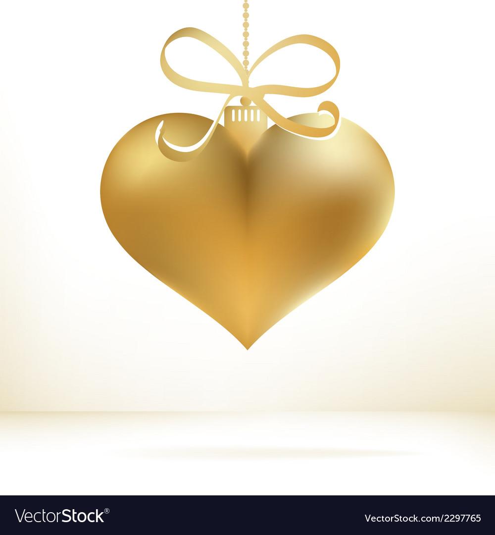 Christmas Heart Vector.Golden Christmas Heart Decoration Eps8