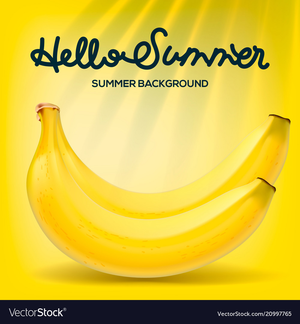 Hello summer poster with bananas on yellow