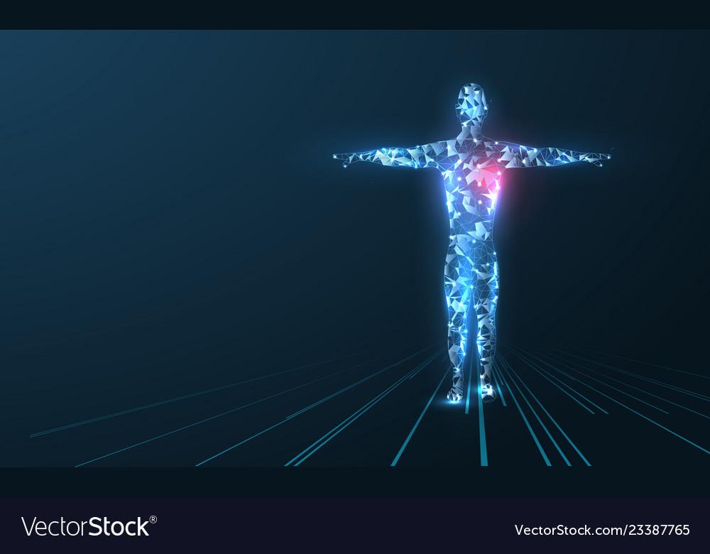 Human body low poly wireframe