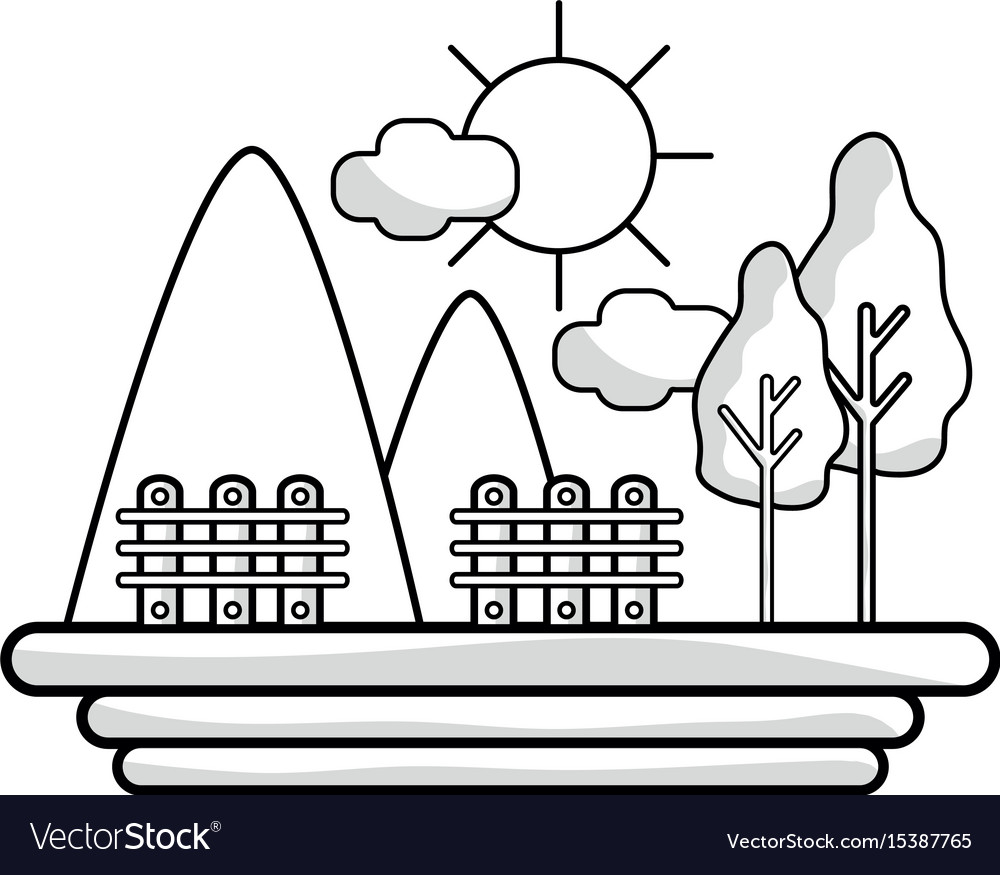 Line mountains with grid wood and trees