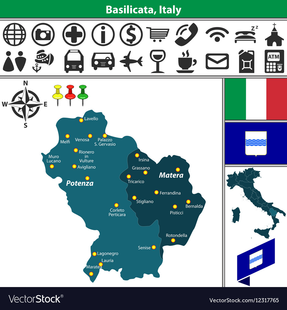 Map Of Basilicata Royalty Free Vector Image Vectorstock