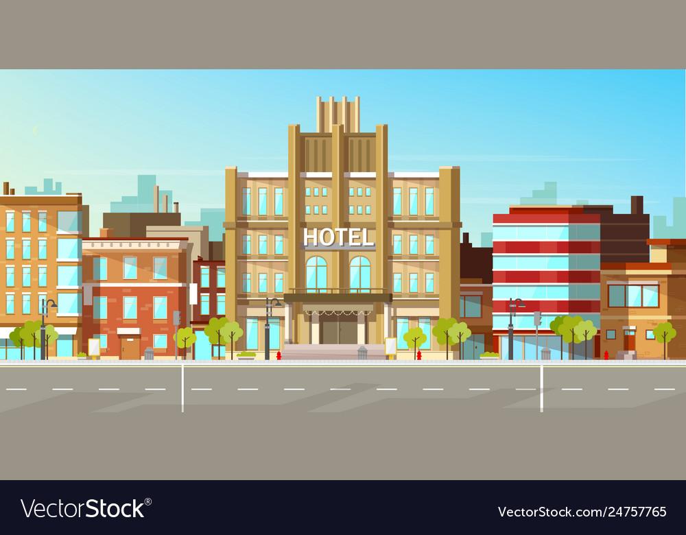 Modern city buildings flat background