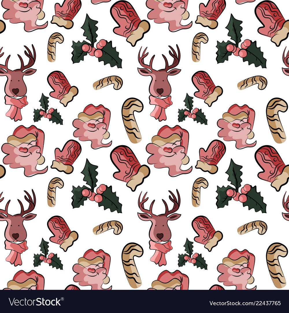 Seamless cute background with santa in