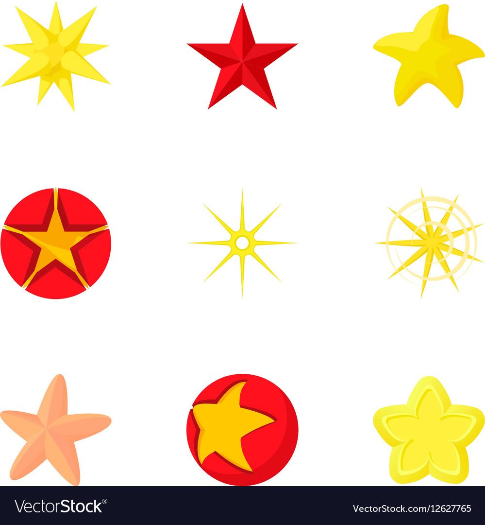 Star icons set cartoon style
