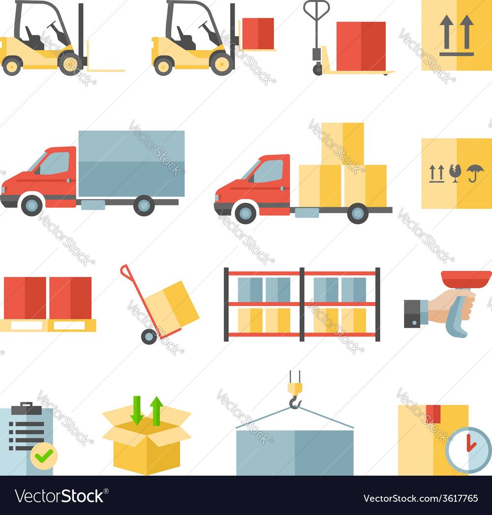 Warehouse transportation and delivery flat icons