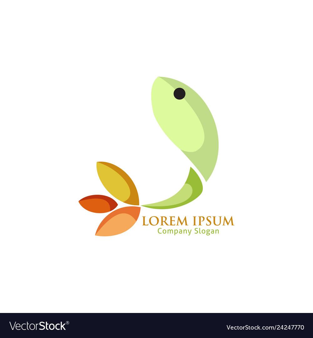 Abstract green fish logo