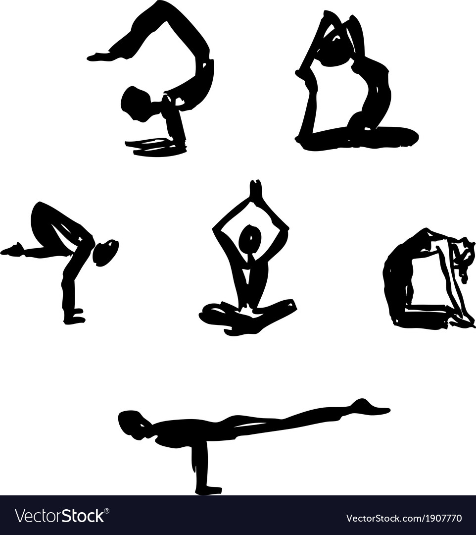 Advanced Yoga poses vector image