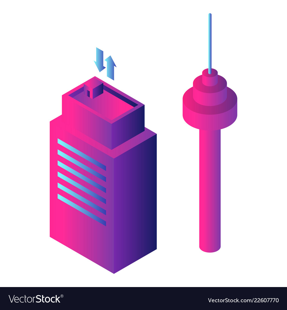 Airport building icon isometric style