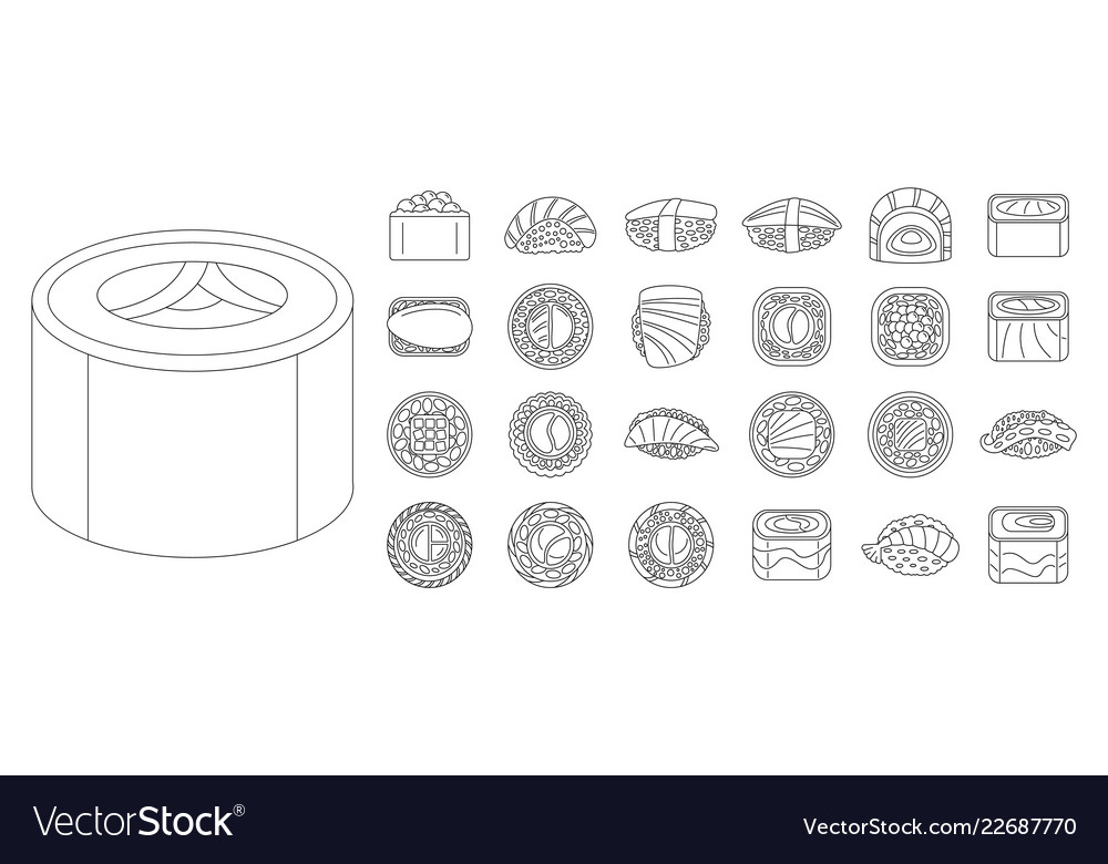 Asian sushi roll icon set outline style