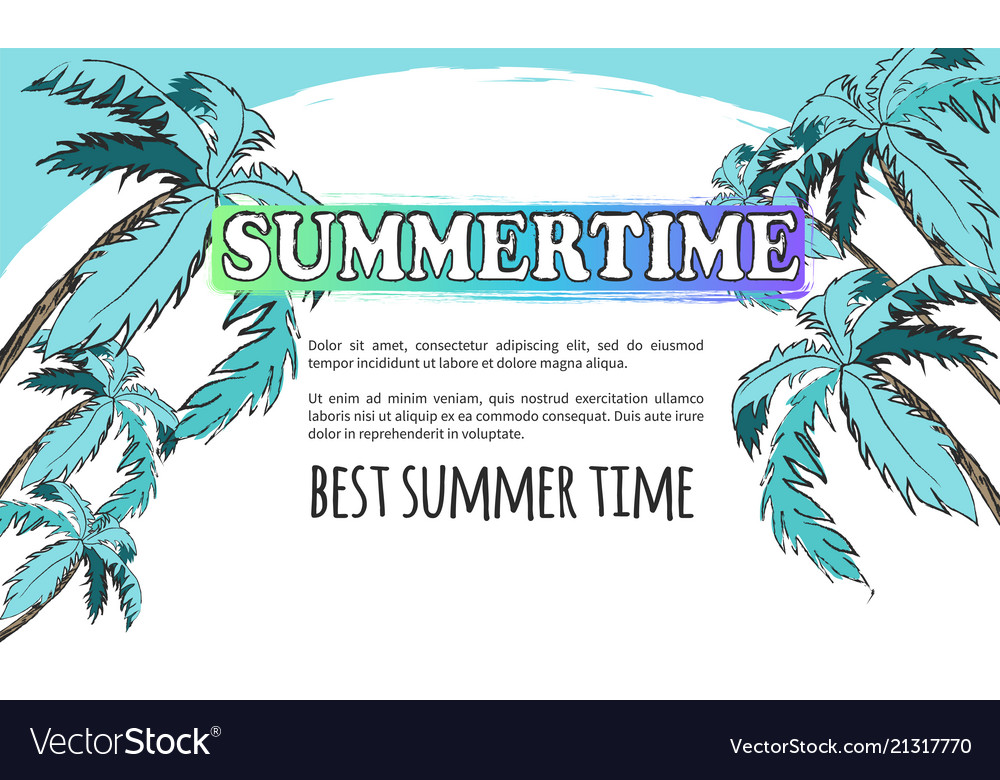 Best summer time poster in light turquoise tones
