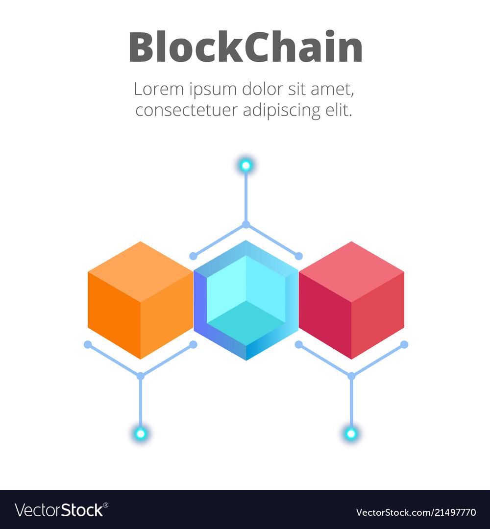 Blockchain concept colorful blockchain background