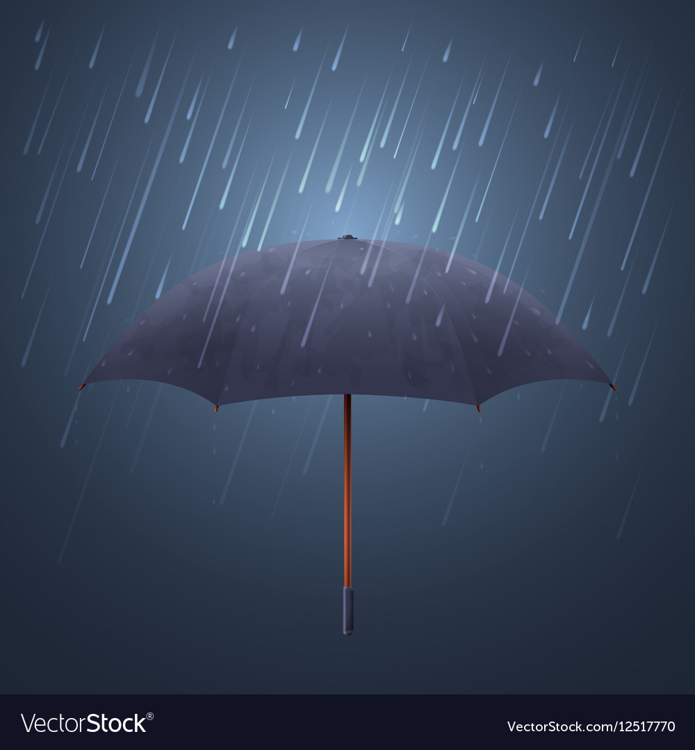 Blue umbrella and fall rain Cool water storm