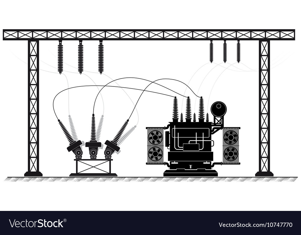electrical substation the high voltage vector 10747770 electrical substation the high voltage royalty free vector