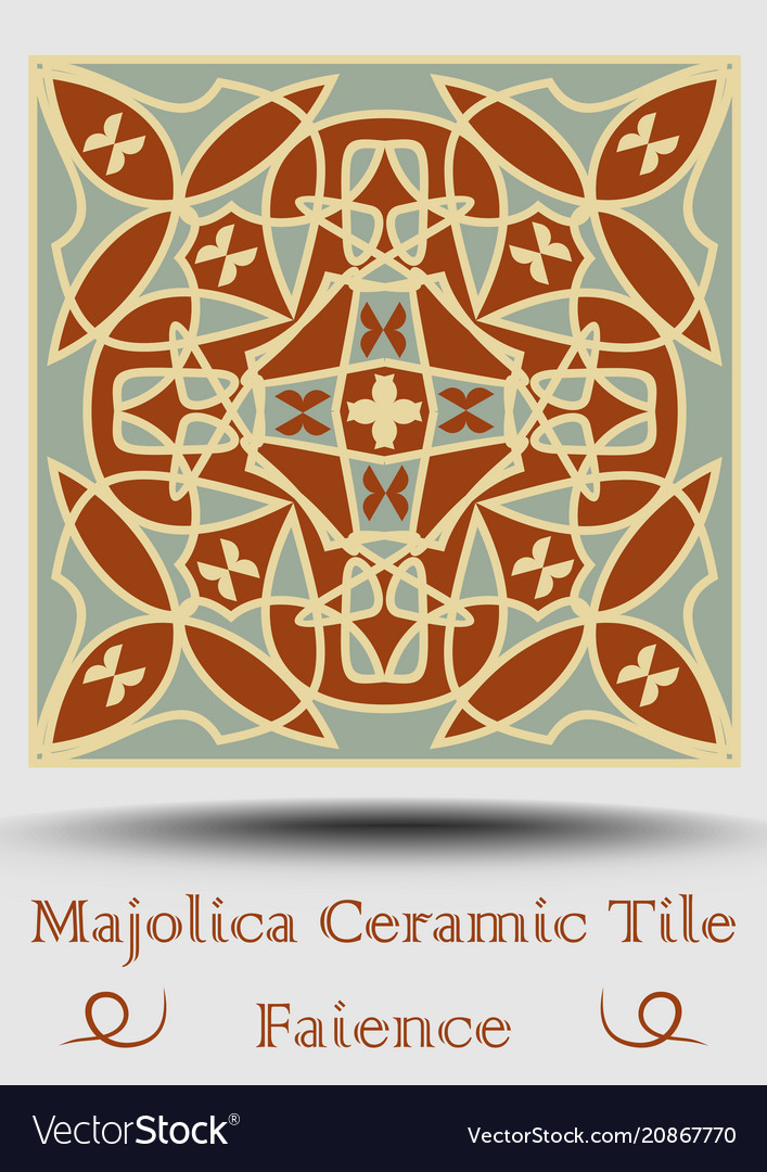 Faience Ceramic Tile In Beige Olive Green And Red Vector Image