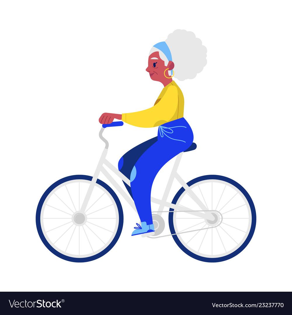 Flat elderly woman in sportsuit jogging