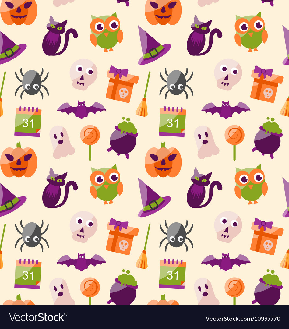 Halloween Seamless Pattern with Colorful Flat
