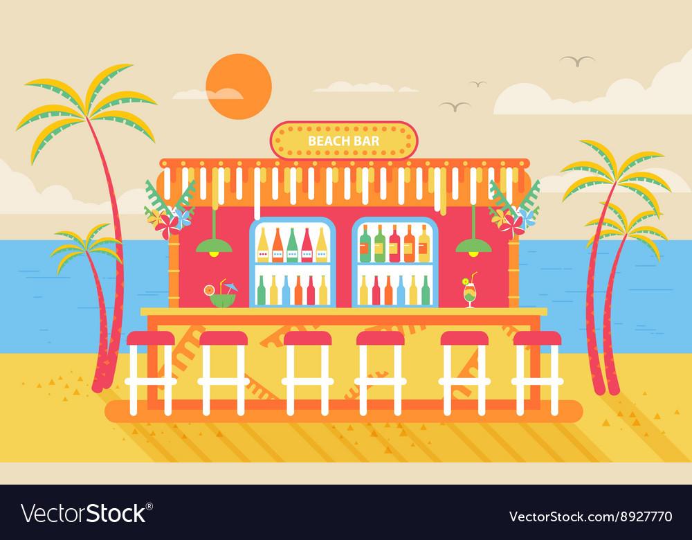 Happy sunny summer day beach bar