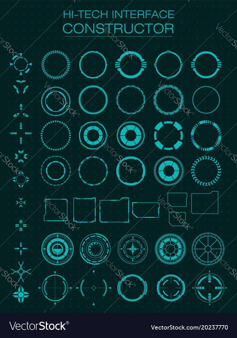 Hi-tech interface constructor design elements for